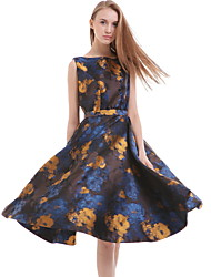 Women's Casual / Day Print Sheath Dress , Round Neck Above Knee Cotton / Polyester