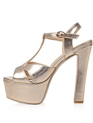 Women's Shoes Glitter / Leatherette Chunky Heel Heels / Platform Sandals Party & Evening / Dress / Casual Silver / Gold