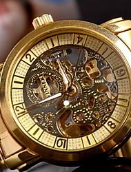 Men's Classic Auto-Mechanical Skeleton Gold Case Steel Band Wrist Watch Cool Watch Unique Watch Fashion Watch