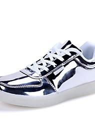 Unisex-Sneaker-Outddor-Lackleder-Flacher Absatz-Komfort-Silber Gold