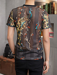 Men's Fashion Peacock Print V Neck Silk Slim Fit Short-Sleeve T-Shirt