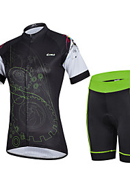 CHEJI Women's Cycling Short Sleeves Quickly Perspiration Outdoor Short Sets