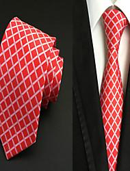 Corbata ( Rojo , Poliéster )- Cuadrícula