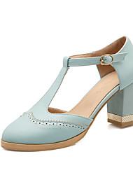 Chaussures Femme-Bureau & Travail / Habillé / Décontracté-Bleu / Rose / Amande-Gros Talon-Talons / Salomé / Bout Pointu-Talons-Similicuir