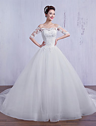 Ball Gown Wedding Dress - Ivory Court Train Off-the-shoulder Tulle