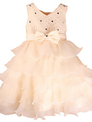 Girl's Pink / Red / White / Beige / HotPink Bow / Dresswear Polyester All Seasons Evening Party Dresses for 2~10 years