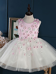 A-line Short / Mini Flower Girl Dress - Tulle Sleeveless Jewel with