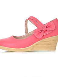 Women's Shoes Leatherette Wedge Heel Wedges / Heels Heels Office & Career / Dress / Casual Black / Blue / Yellow / Pink