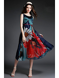 Women's Work Loose / Chiffon Dress,Floral Round Neck Midi Sleeveless Multi-color Others Summer