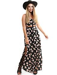 Women's Boho / Holiday Floral Loose / Sheath Dress , Strap Maxi Cotton