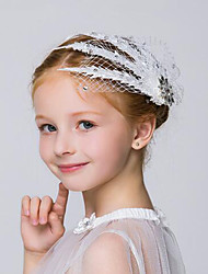 Flower Girl's Lace / Net Headpiece - Wedding / Special Occasion / Outdoor Flowers / Hair Clip