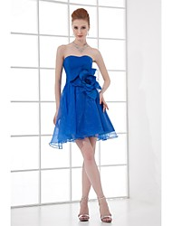 Short / Mini Organza Bridesmaid Dress A-line Strapless with Flower(s)