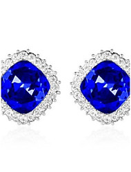 Elegant and Charming Rhinestone Full Crystals Square Stud Earrings for Women Girls Statement Piercing Jewelry