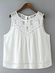 Summer Style Fashion Tank Tops White Lace Cotton Sleeveless Shirts For Women Casual Loose Solid Women Tops Blusas