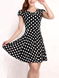Hot Sale Women's Vintage / Casual / Day Polka Dot Plus Size / Chiffon Dress , Round Neck Knee-length Rayon / Polyester