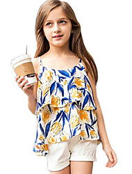 Girl's Blue Tank & Cami,Floral Cotton Spring