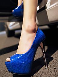 Women's Shoes Patent Leather / Customized Materials Stiletto Heel Heels / Peep Toe / Platform Sandals Party & Dress
