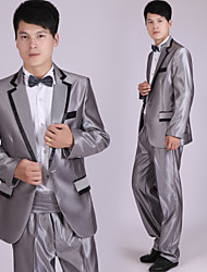 Suits Tailored Fit Notch Single Breasted One-button Polyester Stripes 4 Pieces Gray