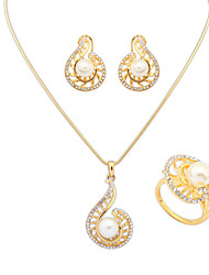 Women's Fashion Cochlea Shiny Rhinestone Pearl Earrings Ring Necklace Set Bridal Set
