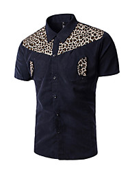 Men's Print Casual / Work / Formal / Sport Shirt,Cotton Short Sleeve Blue / Brown