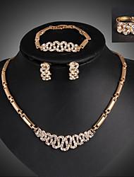 Damen Schmuckset Modisch Luxus-Schmuck Modeschmuck 18K Gold Diamantimitate Geometrische Form Ohrringe Halskette Armband Ring Für Party