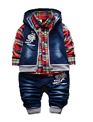 Boy's Cotton Clothing Set,Spring / Fall Check