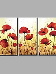 "Ready to Hang Hand-Painted Oil Painting Canvas Three Panels 48""x32"" Wall Art Abstract Red Flowers Beige"