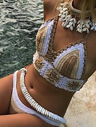 De las mujeres Bikini-Monocolor Sin Soporte / Ajustable-Bandeau-Punto Romano