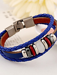 leather Charm BraceletsTriple-layer leather Wire Circle Beads Alloy Clasp Casual Bracelets 1pc