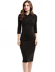 Pencil skirt Women's Vintage Solid Plus Size / Bodycon Dress , Surplice Neck Knee-length Cotton / Polyester Pencil skirt
