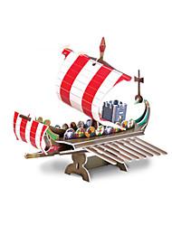 Puzzles Puzzles 3D Building Blocks DIY Toys Navire de Guerre Papier Rouge / Kaki Maquette & Jeu de Construction