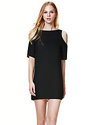 Women's Sexy / Simple Solid A Line Dress , Round Neck Above Knee Cotton