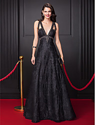 TS Couture® Formal Evening Dress-Black A-line V-neck Floor-length Lace