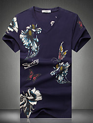 Men's Fashion Chinese Style Butterfly Print V Neck Slim Fit Short-Sleeve T-Shirt