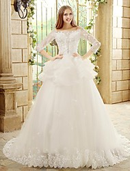 Princess Wedding Dress Chapel Train Bateau Tulle with Appliques