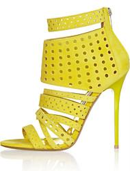 Women's Shoes Heel Heels Sandals / Heels Outdoor / Dress / Casual Yellow / Gold/KR003