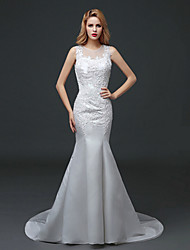 Trumpet / Mermaid Wedding Dress Court Train Jewel Lace / Tulle with Lace