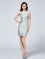 LIFVER® Women's V Neck Sleeveless Above Knee Bodycon Dress(silver) - XZ52095
