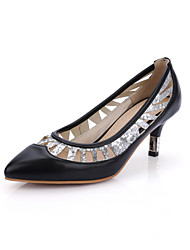 Women's Shoes PU Summer/Fall Heels/Pointed Toe Heels Office & Career/Casual Low Heel Split Joint Black/Red/White