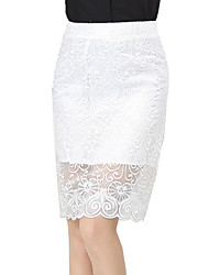 Women's Solid Pink / White / Black Skirts , Sexy / Street chic Above Knee