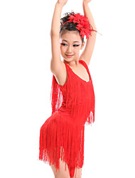 Latin Dance Dresses Children's Performance Spandex / Milk Fiber Tassel(s) 2 Pieces Dress / HeadpiecesDress length S(110):60cm /
