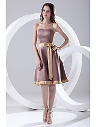 Lanting Bride Knee-length Satin Bridesmaid Dress A-line Strapless with Bow(s) / Sash / Ribbon
