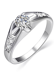 HKTC Fashion White Gold Plated Mounting 0.5 ct CZ Diamond Wedding Jewelry Rings