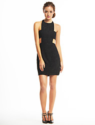 Cocktail Party Dress Sheath/Column Halter Short/Mini Sequined / Polyester