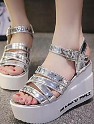 Zapatos de mujer - Tacón Cuña - Comfort - Sandalias - Vestido - Semicuero - Blanco / Plata