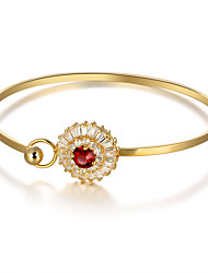 Fshion Party Flower 18K Gold Plated Cuff Bangle Red Cubic Zirconia Bracelets & Bangles For Women
