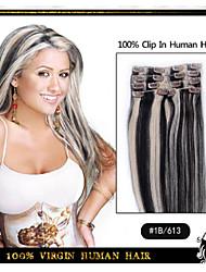 """15 """"18"""" 20 """"22 'Länge Mischfarbe 7pieces Clip in der Menschenhaarverlängerungen gerade 70g-80g für Frau cabelo humano"""
