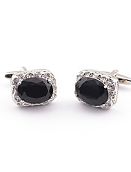 Black Zircon Gem French Shirt cufflinks For Groomsmen Gift