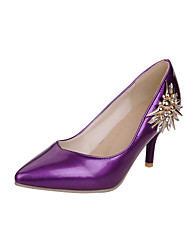 Women's Shoes Patent Leather Stiletto Heel Heels / Comfort / Pointed Toe Heels Office / Casual Black / Purple / Red