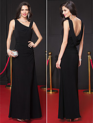 TS Couture Formal Evening Dress - Black Sheath/Column V-neck Ankle-length Jersey